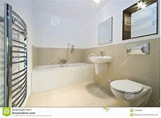 Modern Bathroom With Beige Tiled Walls Stock Photo Image