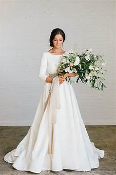 modest wedding gowns with 3 4 sleeves discount 2018 new boho a line soft satin modest wedding