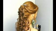 curly prom bridal hairstyle for long hair with french braids youtube