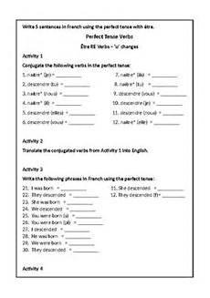 worksheets for verb etre 19140 tense worksheet 202 tre verbs er ir re verbs pass 233 compos 233