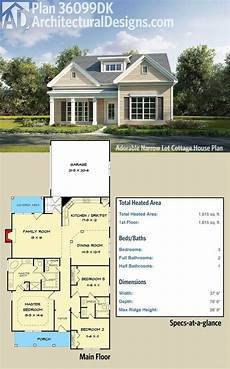 cottage house plans for narrow lots plan 36099dk adorable narrow lot cottage house plan in