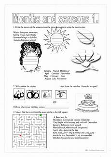 months and seasons activities worksheets 14767 months and seasons 1 worksheet free esl printable worksheets made by teachers