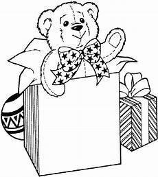 Ausmalbilder Weihnachten Teddy Teddy Gift Coloring Page