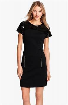 michael michael kors sequin yoke ponte dress in black lyst