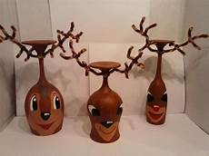 reindeer w rudolph wine glass candle by