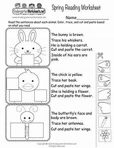 spring reading worksheet for kindergarten