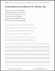 cursive handwriting worksheets poems 22053 s day rhyme handwriting worksheet student handouts
