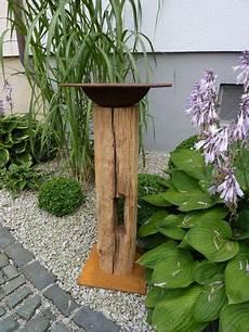 Stehle Weiß Holz - gartendekoration eichensteele mit pflanzschale aus