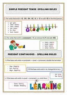 spelling present tense verbs worksheets 22603 present simple continuous spelling esl worksheets for distance learning and