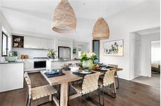 use rattan pendants above your dining space to add a touch