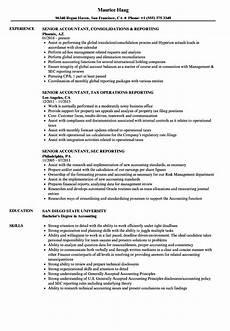 reporting senior accountant resume sles velvet