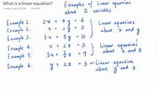 what is a linear equation definition and exles youtube