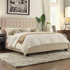 Bedroom Ideas Beige Headboard by King Size Beige Upholstered Bed With Button Tufted