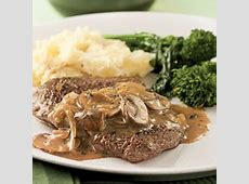 cube steak with mushroom sherry sauce for two_image