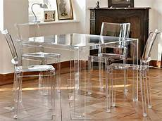 sedie plexiglass kartell invisible table design kartell table in polymer 100x100