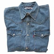 chemise levi s bleu en denim vestiaire collective