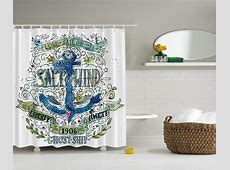 Anchor Beach Graphic Shower Curtain Chain Ship Old Sailor