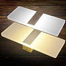contemporary led sconce rectangular white acrylic l shade wall light fixture ebay