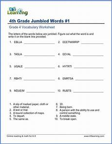 grade 4 vocabulary worksheet unscramble the words k5