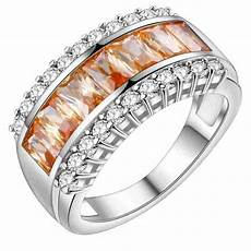 promotion jewelry luckyshine excellent fire morganite silver plated wedding rings russia