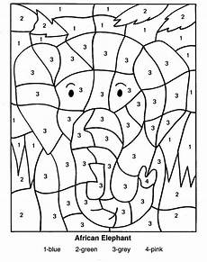 color by number animal worksheets 16069 coloring pages of animals elephant color by number coloring pages раскраска
