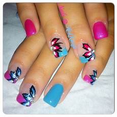 pink and blue gel nails with flowers nails blue gel