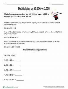 multiplying by 10 100 or 1 000 worksheet education com