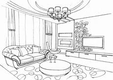 living room with ornament coloring page ausmalen