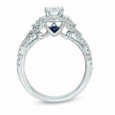 vera wang love collection 1 ct t w oval diamond frame engagement ring in 14k white gold
