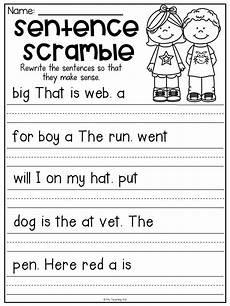 writing simple sentences worksheets 1st grade 22232 sentence scramble worksheets kindergarten literacy centers distance learning sentences