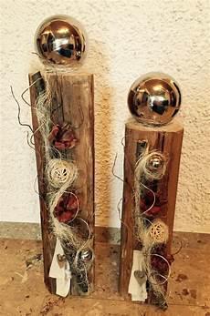 Weihnachtsdeko Aus Holz Selber Basteln - edel dekorierter holzbalken weihnachtsdeko holz