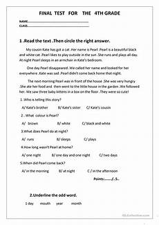 final test for the 4th grade worksheet free esl printable worksheets made by teachers