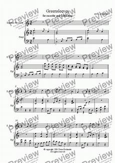 greensleeves for recorder and celtic harp download sheet music pdf