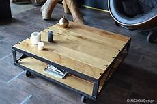 Table Basse Industrielle 224 Roulettes Rachelina Made In