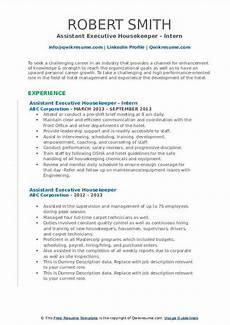 assistant executive housekeeper resume sles qwikresume