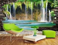 effet de profondeur peinture murale extension d espace papier peint photo paysage trompe l œil effet 3d chute d eau papier peint