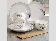 8pcs set, real bone china dinner sets, creative tree