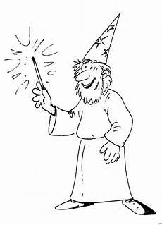 Zauberer Ausmalbilder Kostenlos Gluecklicher Zauberer Ausmalbild Malvorlage Phantasie