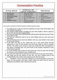 conversation giving advice worksheet free esl printable worksheets made by teachers