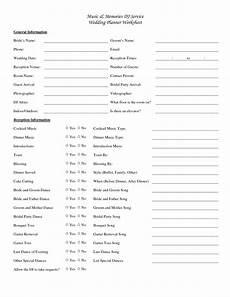 wedding dj checklist music memories dj service wedding planner worksheet yes no yes