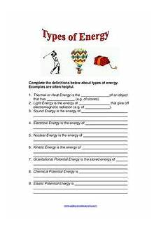 types of energy worksheet types of energy worksheet for 2nd 5th grade lesson planet
