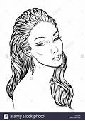 Girl With Streaming Wavy Hair Lineart Hand Drawn Vector