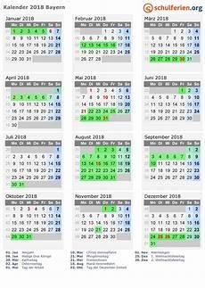 Kalender 2018 Ferien Bayern Feiertage