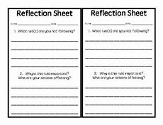student reflection sheet for behavior by sprouting learners tpt