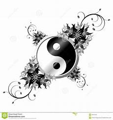 Malvorlagen Yin Yang Foto Yin Yang Met Bloemen Vector Illustratie Afbeelding