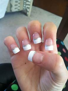 french tip acrylic nails with silver accent french