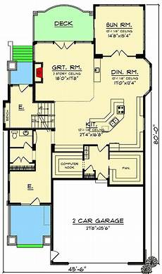 rustic craftsman house plans rustic craftsman house plan for a narrow lot 890065ah