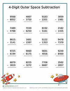subtraction worksheets with borrowing 4 digits 10629 4 digit subtraction practice worksheet education