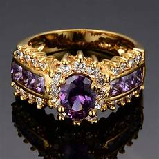 purple amethyst engagement ring sz 5 12 womens 10kt yellow gold filled jewellery ebay