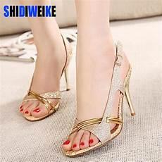 shidiweike sandal thin high heels sandals gold